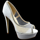 $140 White Sexy Stiletto CRYSTAL Strass Peep Toe Women Shoes High Heels