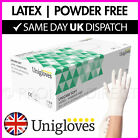 Latex Gloves Disposable - Powder Free - Strong High Quality White - Boxes of 100