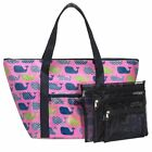 3C4G Three Cheers for Girls Whales Zipper Tote with Mesh Storage Bags 23313