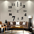 DIY Analog 3D Mirror Surface Large Number Wall Clock Sticker Modern Home Decor#