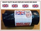 New BIG HEAVY DUTY BLACK REFUSE SACKS STRONG THICK RUBBISH BAGS BIN LINERS LARGE