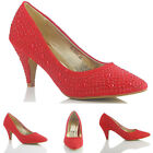 NEW WOMENS LADIES DESIGNER RED HIGH HEEL EVENING PARTY WEDDING PROM COURT SHOES