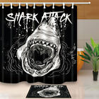Great white shark mouth Shower Curtain Bathroom Decor Fabric & 12hooks 71*71inch