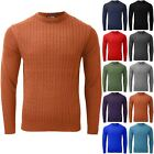 New Mens Round Neck Chunky Cable Knitted Winter Warm Sweater Pullover Jumper Top