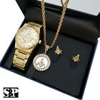MEN HIP HOP GOLD PLATED FREEMASON MASONIC WATCH & NECKLACE & EARRINGS COMBO SET  image