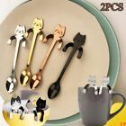 Cute Stainless Steel Cat Coffee Drink Spoon Tableware Kitchen Tool Hanging 2PCS