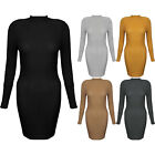 New Ribbed High Neck Long Sleeve Stretch Bodycon Turtle Knitted Jumper Dress