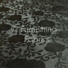 Floral Pattern Sheen Emboss Vinyl Faux Leather Upholstery Fabric Brown Colour