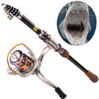 Travel Fishing Rod and Reel Kits Fishing Pole Reel Combos Saltwater Rod Tackle