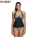 Women Bikini Stripes Lined Up Double Up Padded Cups Tankini Top 2 Piece Swimsuit