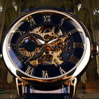 ES_ Men 3D Hollow Engraving Case Roman Numbers Skeleton Dial Mechanical Watch Ex image
