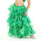 New Arrival Kid Children Chiffon Belly Dancing Wave Skirt Ball Gown 8Colors