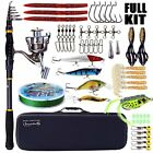 Fishing Rod and Reel Combos Telescopic Pole+Reel+Box+Line+Lures+Hook+Carrier Bag