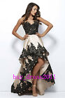 Black High Low Evening Dresses Prom Party  Formal Celebrity Wedding Bridal Gowns