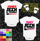 PERSONALISED STAR WARS STYLE BABY VEST BABYGROW GIFTS BOY GIRL JEDI IN TRAINING