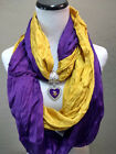 Minnesota Vikings  Team Color  Scarf with NFL Licensed  Heart-Shaped Pendant