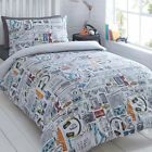 Bluezoo Kids' White 'Gadget' Duvet Cover And Pillow Case Set