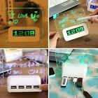 Creative Digital Calendar Fluorescent Message Board USB LED Light Alarm Clock