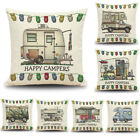 Home Decor Ornate HAPPY CAMPERS Sofa Waist Throw Cushion Cover Pillow Case New