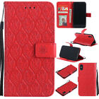 Card Holder Leather Flip Wallet Case Cover Stand Floral For iPhone LG Moto Sony
