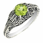Sterling Silver Round Cut Peridot Art Deco Filigree Ring R205P