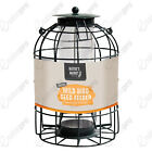 Caged squirrel guard bird feeders in gre...