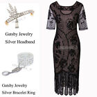 Vintage Casual Wear Great Gatsby Flapper Dress Hollow Out Party Women's Dresses