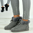 New Womens Fur Line Trainers Ladies Lace Up Sneakers Plimsolls Shoes Sizes Uk