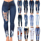 Womens Ladies Ripped Distressed Hole Skinny High Waisted Denim Jeans Trousers