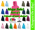 Fruit of the Loom HOODIE 2 PACK Sweatshirt Hoody Jumper Plain Sweater Wholesale