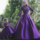online dreses - Purple Muslim Mother And Daughter Evening Dress Hijab Beaded Formal Party Dreses
