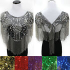 Sequin Bead Shawl Flower Wedding Party Evening Scarf Wrap Fringe Gold Hip Scarf