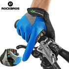 ROCKBROS Touch Screen Non-Slip Breathable Full Finger Bicycle Sport Gloves Blue