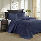 BEAUTIFUL XXXL NAVY BLUE CLASSIC SCROLL VINTAGE STITCH SOFT BEDSPREAD QUILT SET  image