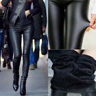 Women Winter Thick Warm Faux Black Leather Leggings Stretch Pants Sexy Trouser