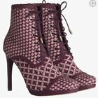 Zimmermann Weave Ankle Boots | Burghandy | Lace Up, High Heels | $1,100 RRP