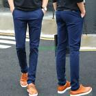 Men casual dress skinny slim fit cotton blend boy straight pants trousers Formal