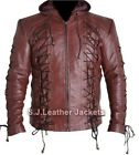 Men's Fashion Arrow Faux / Real Leather Arsenal Jacket in Burgundy - Xs-5xl