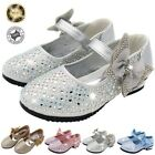 Girls Childrens Kids High Mid Heel Diamante Party Shoes Bridesmaid Sandals Top
