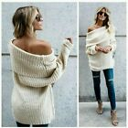 PLUS SIZE XL 1XL 2XL UMGEE CREAM wide Fold Neck On/Off Shoulder SWEATER BHCS