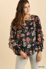 S M L UMGEE NAVY Floral Ruffle Sleeves Chiffon Style Top/Shirt/Blouse BHCS