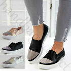 New Womens Diamante Sneakers Comfy Slip On Trainers Casual Pumps Flat Shoes Size
