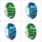 Murano Stripe Gold Wave Glass Bead Sterling Silver for European Charm Bracelet