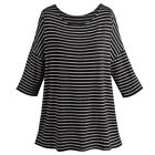 """Women's Tunic Top - Bamboo Stripe Blouse - One Size Fits Most - 28"""" Long"""