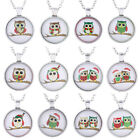 Cute Owl Tibetan Cabochon Silver Chain Glass Pendant Necklace Women's Jewellery