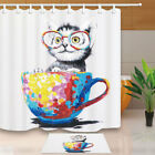 Cats and tea cups Shower Curtain Home Bathroom Decor Fabric & 12hooks 71*71inch