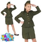 Girls WW2 Army Costume Child 40s Soldier Officer Fancy Dress Outfit Uniform New