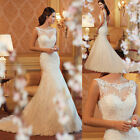 2018 New White/Ivory Mermaid Lace Wedding Dress Bride Gown Size:6-18