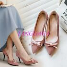 Womens Bowknot Bridal Stilettos Heeled Shoes Banquet Suede Mules Evening Party
