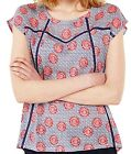 White Stuff Viola Red Navy Blue Floral Jersey Lace Floral Top Blouse Summer